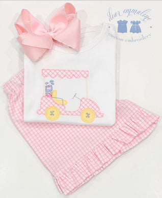 Girls Pink Windowpane Golf Cart Applique Shirt