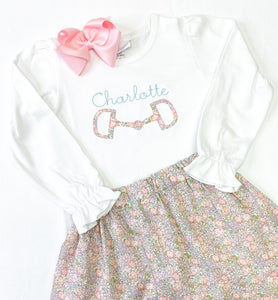 Girls Equestrian Bit Applique Shirt
