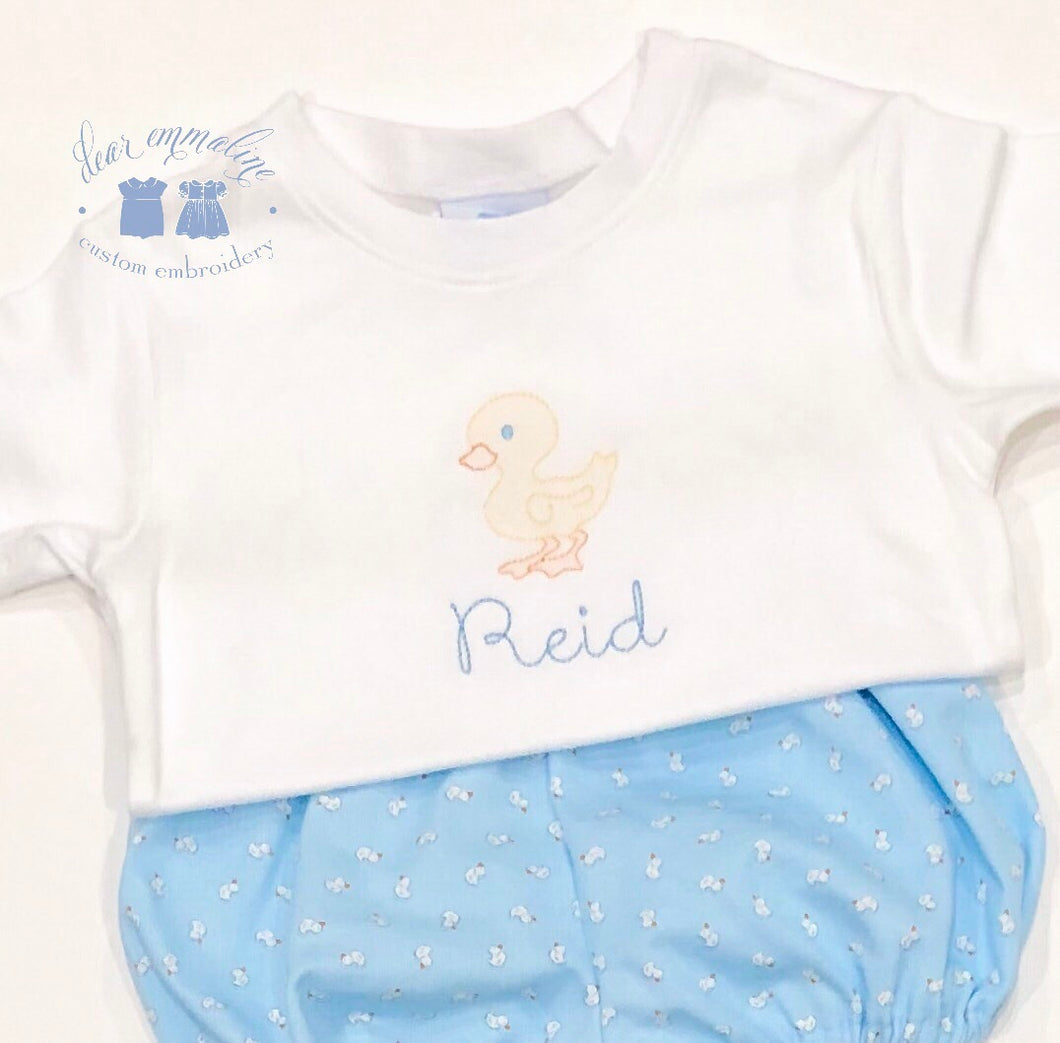 Boys & Girls Shadow Embroidery Duck Shirt