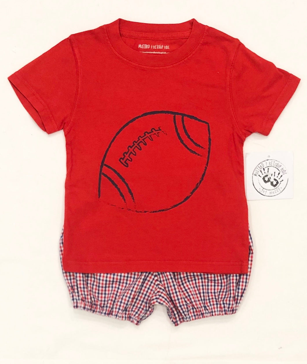 Red & Navy Football Tee by Mustard & Ketchup Kids
