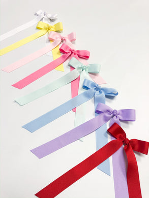 Mini Grosgrain Long Ribbon Bows with Wee Stay No Slip Clip