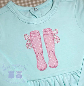 Wellies with Bows Applique