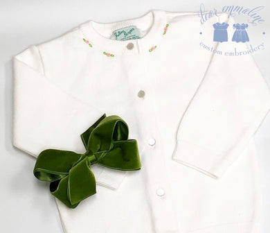 Julius Berger White Cardigan with Rosebuds