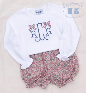 Girls Monogram with Liberty Applique Bows Shirt