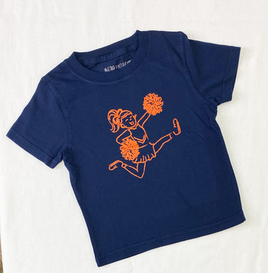 Navy & Orange Cheerleader Tee