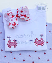 Load image into Gallery viewer, Girls Patriotic Crab Name Shirt