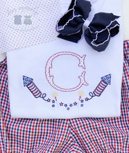 Load image into Gallery viewer, Boys & Girls Patriotic Initial Applique Shirt