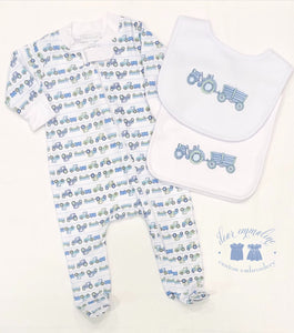Tractor Bib & Burp Cloth Set