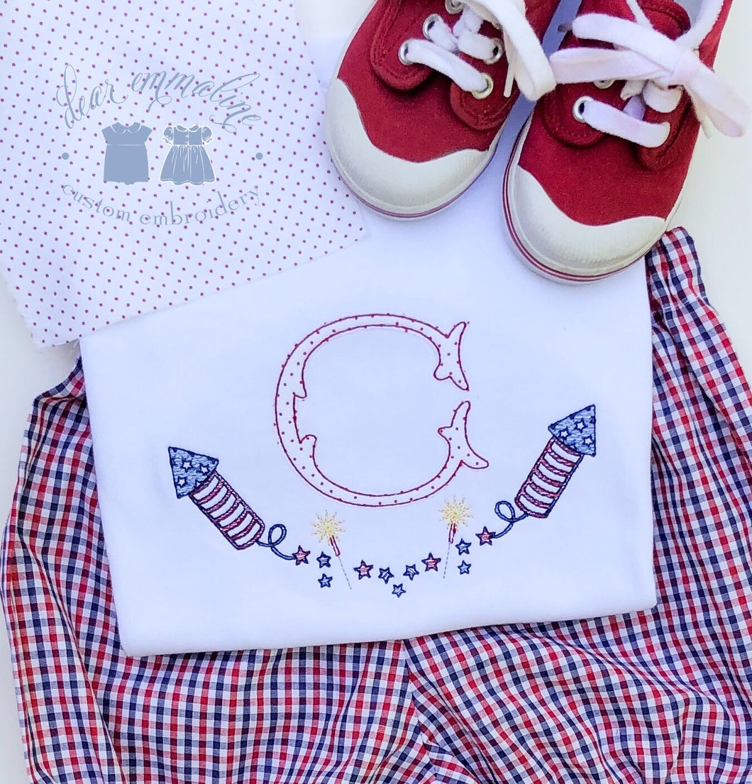 Boys & Girls Patriotic Initial Applique Shirt