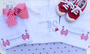 Stacked Monogram Crab Polo