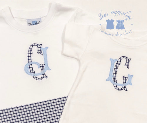 Boys Two Letter Monogram Applique Shirt