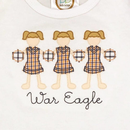 Cheerleader Paper Dolls Applique Shirt