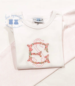 Girls Two Letter Monogram Applique Shirt