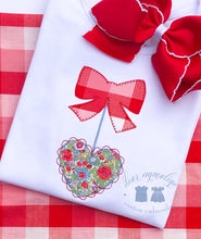 Load image into Gallery viewer, Valentine's Bow and Scalloped Heart Applique Shirt