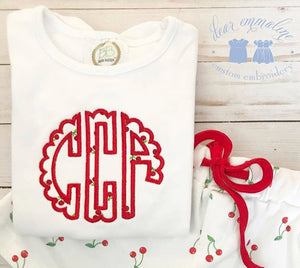 Cherry Scallop Applique Monogram Shirt