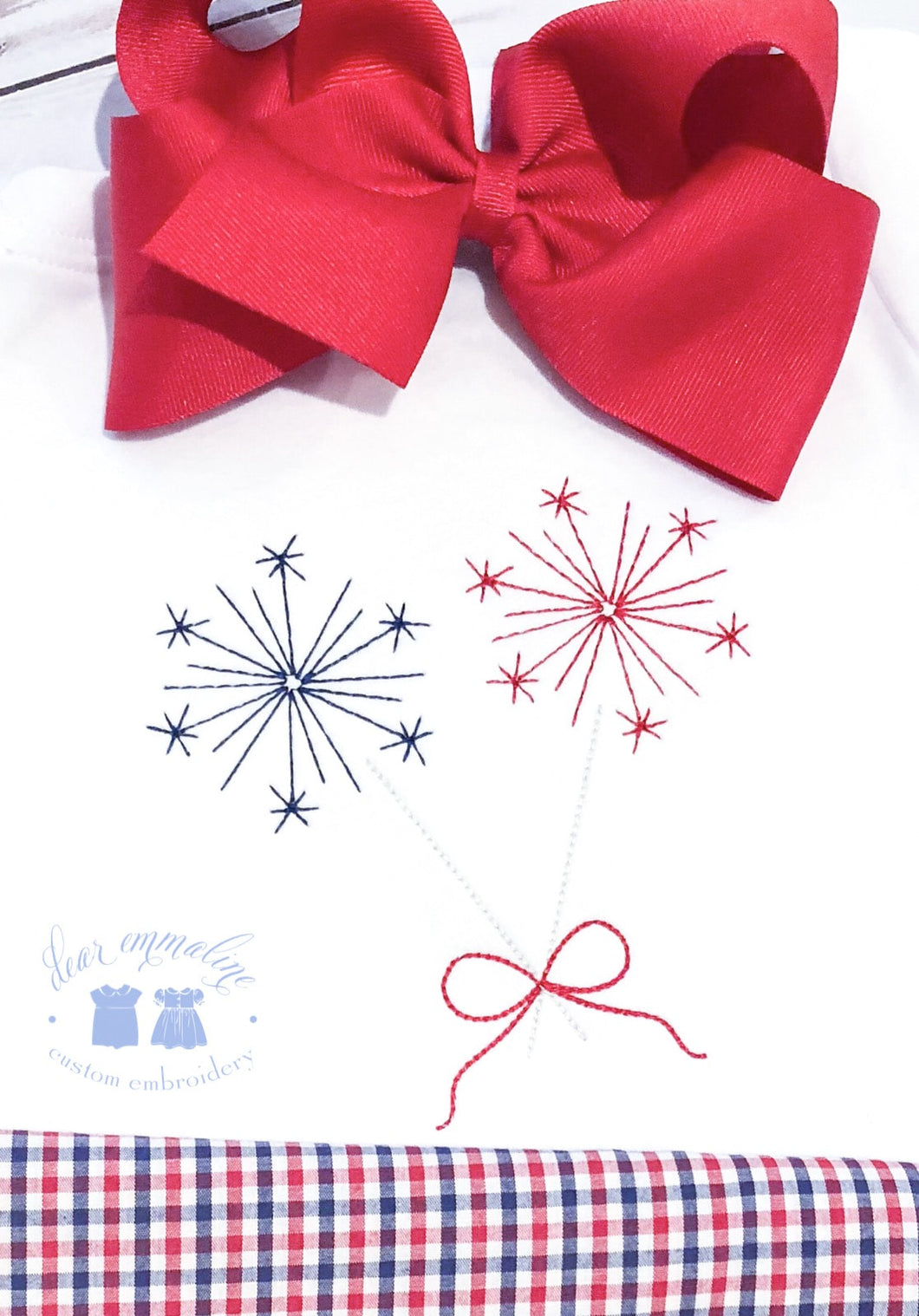 Patriotic Sparklers with Bow Shirt