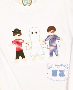 Boys Halloween Paper Dolls Applique Shirt