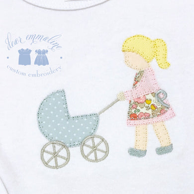 Girl with Carriage Applique Shirt
