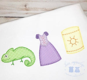 Chameleon, Princess, and Floating Light Lanterns Row Applique Shirt