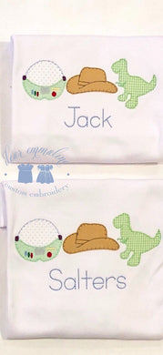 Space Helmet, Cowboy, and Dino Trio Applique Shirt