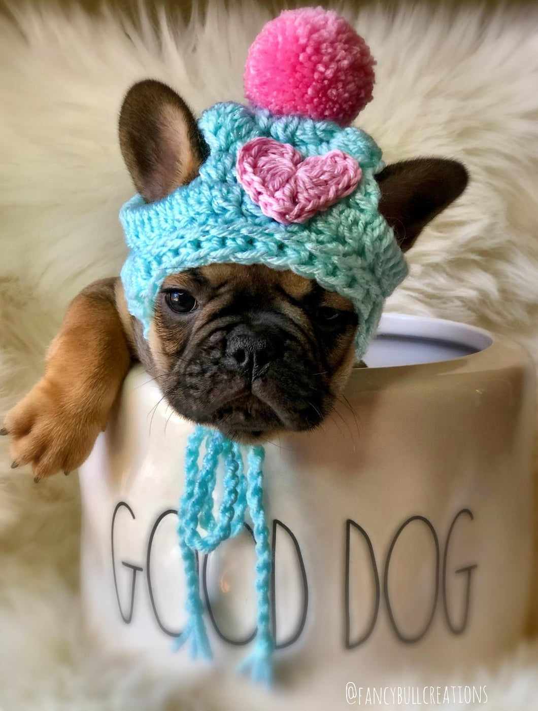 Handmade crochet heart puppy dog hat