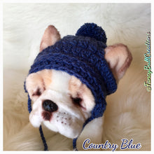 Load image into Gallery viewer, Handmade crochet baby blue puppy beanie