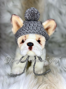 small gray puppy hat