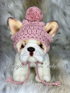 small dusty rose puppy dog beanie