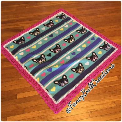 French Bulldog Face Fleece crochet edge blanket