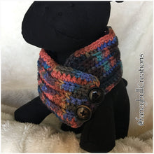 Load image into Gallery viewer, Handmade crochet purple button dog scarf medium