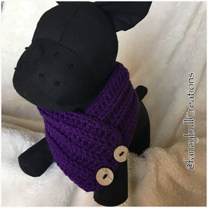 Handmade crochet purple button dog scarf medium