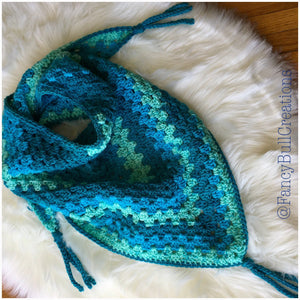Crochet triangle fringed shawl scarf