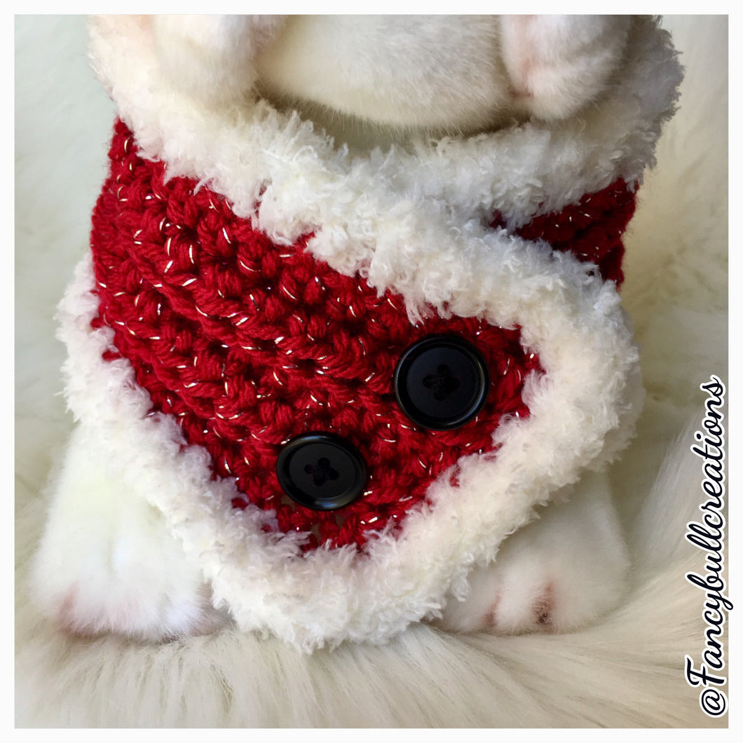 Handmade crochet holiday button pet scarf