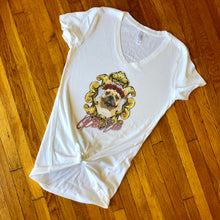 "Load image into Gallery viewer, French Bulldog Graphic V-Neck Tee ""Por Vida"""