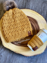 Load image into Gallery viewer, Pompom Winter Beanie & Coffee Sleeve