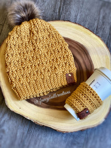 Pompom Winter Beanie & Coffee Sleeve