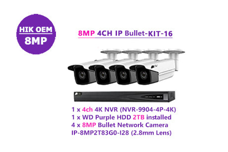 8MP 4CH IP Bullet-KIT-16