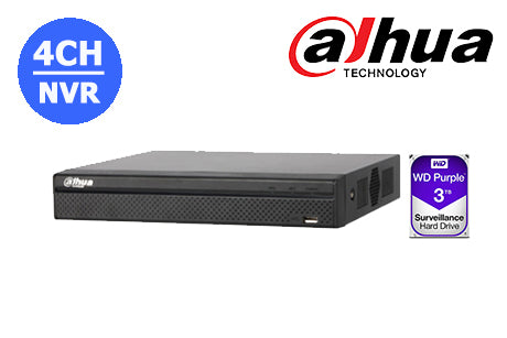 DHI-NVR4104HS-P-4KS2-3TB Dahua 4K  4CH NVR with built in POE