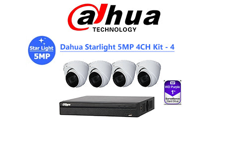 DAHUA Starlight 5MP 4CH IP TURRET KIT-4