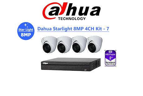DAHUA Starlight 8MP 4CH IP TURRET KIT-7