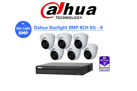 DAHUA Starlight 8MP 8CH IP TURRET KIT-8