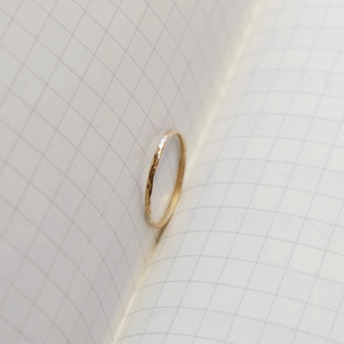 14K Gold Ring Simple Band with Hammered Pattern