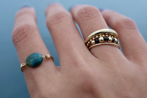 14k Gold Ring with Moss Agate Stone