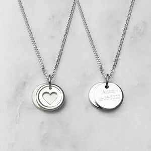 Heart Love Disc Necklace