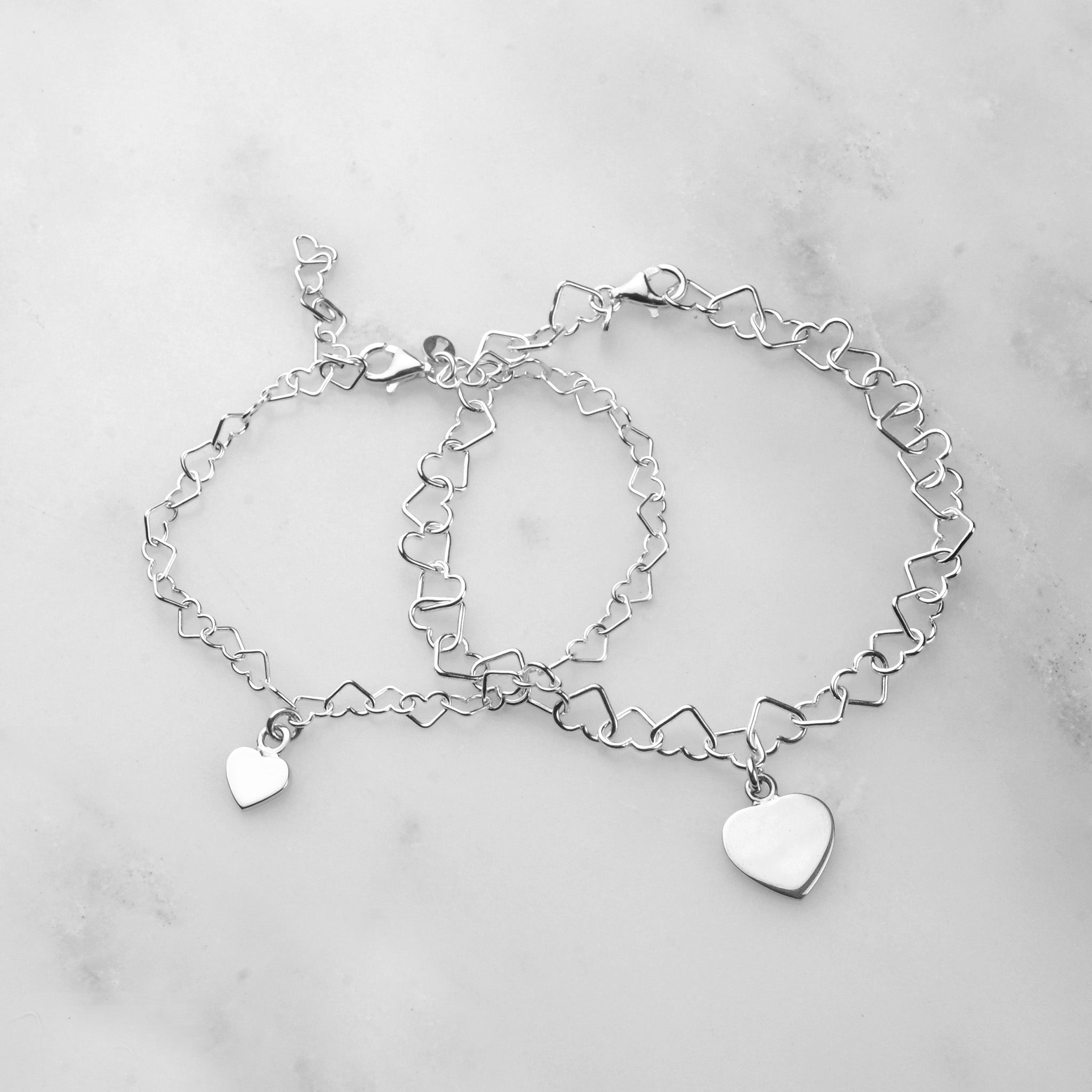 Linked Heart Bracelets