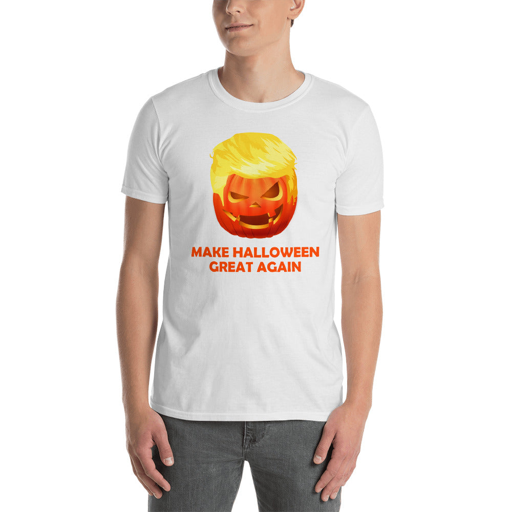 4565a79e6 ... Load image into Gallery viewer, Make Halloween Great Again Funny  Trumpkin Unisex T-Shirt ...