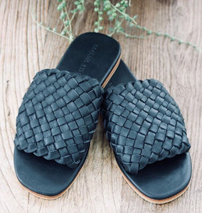Black woven leather  slides
