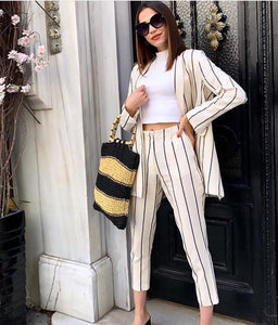 Striped linen suit