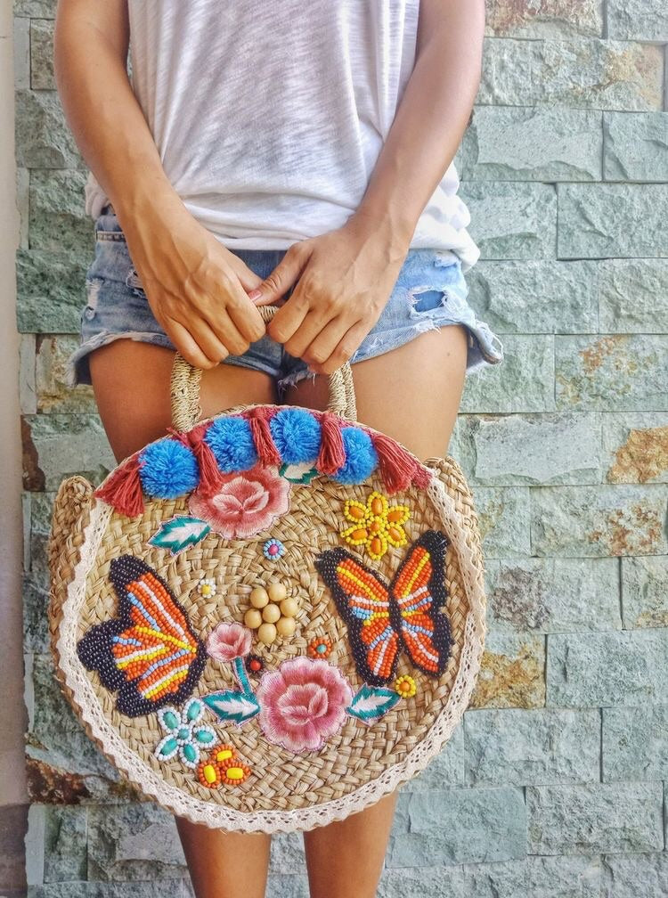 Hand embroidered Woven Bags
