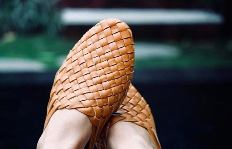 Camel Woven leather mule